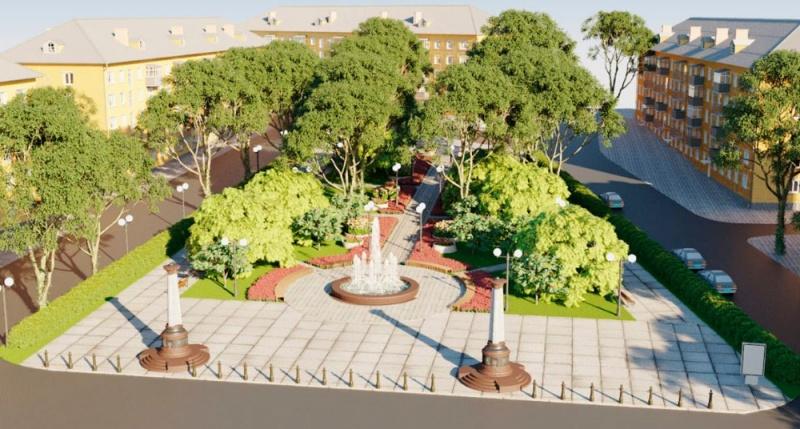 Так может выглядеть сквер на пл Захарова. Моделирование – ООО «Технодорпроект»